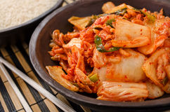 Kimchi. A bowl of traditional Korean napa cabbage Kimchi Royalty Free Stock Photography