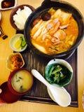 Kimchi caldo con riso e minestra Immagini Stock Libere da Diritti