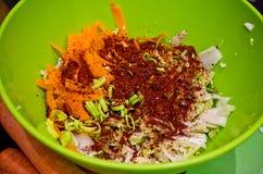 Kimchi caseiro em uma foto do alimento do frasco Fotos de Stock