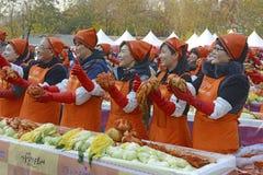 Kimchi danandefestival, Seoul Korea Fotografering för Bildbyråer