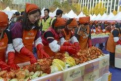 Kimchi faisant le festival, Séoul Corée Photo libre de droits