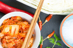 Kimchi. Fermented napa cabbage with ingredients Royalty Free Stock Image