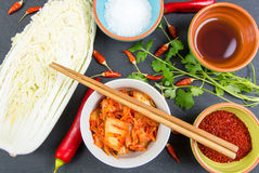 Kimchi. Fermented napa cabbage with ingredients Royalty Free Stock Photos