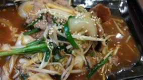Kimchi fermentou salada misturada dos vegetais fritada com menu do coreano da carne de porco Fotografia de Stock Royalty Free