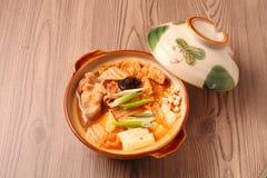 Kimchi hot pot. On the table royalty free stock photo
