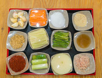 Kimchi ingredient  pickle group. Korean food Royalty Free Stock Images
