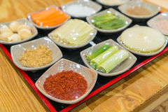 Kimchi ingredient  pickle group. Korean food Stock Photography