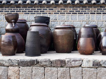 Kimchi jars stock photo