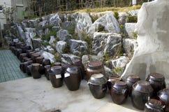 Kimchi jars korean village house Stock Images