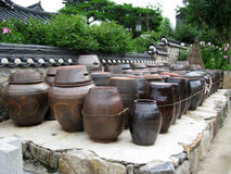 Kimchi pot. A lot of kimchi pot at the backyard of a heritage house in korea Stock Photography
