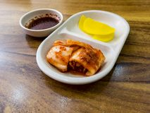 Kimchi and radish traditional Korean fermented food. Seoul, South Korea royalty free stock photos