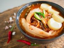 Kimchi soppa, traditionell koreansk mat Arkivfoto