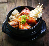 Kimchi Stew with beef and enokitake Royalty Free Stock Photo