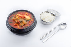 Kimchi stew, kimchi chigae, korean cuisine, kimchi soup with ste Stock Photo