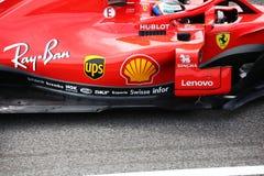 Kimi Raikkonen, detail van zijn ferrari in Monza 2018 royalty-vrije stock afbeeldingen