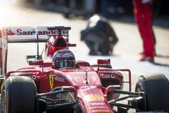 Kimi Raikkonen Ferrari 2015 Imágenes de archivo libres de regalías