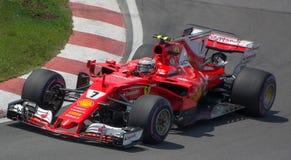 Kimi Raikkonen # 7 in Montreal 2017. Ferrari Racing Team and kimi Raikkonen at the 2017 Canadian Gran Prix Royalty Free Stock Photography