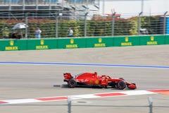 Kimi Raikkonen of Scuderia Ferrari. Formula One. Sochi Russia. Sochi, Russia - September 30, 2018: Kimi Raikkonen of Scuderia Ferrari F1 team racing at the race royalty free stock photo