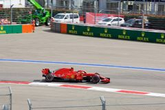 Kimi Raikkonen of Scuderia Ferrari. Formula One. Sochi Russia. Sochi, Russia - September 30, 2018: Kimi Raikkonen of Scuderia Ferrari F1 team racing at the race stock photo