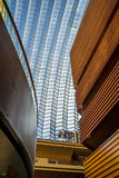 Kimmel Center in Philadelphia PA. Inside the Kimmel Center in Philadelphia PA looking up at the glass roof and wood balconies Stock Photography
