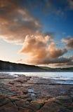 Kimmeridge海湾日出横向,多西特英国 库存照片