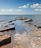 Kimmeridge Bay seascape with rocks Stock Images