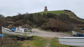 Kimmeridge tower. View from the boat park Royalty Free Stock Image
