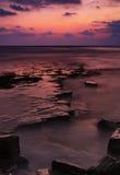 Kimmeridge wypusty przy zmierzchem na Jurajskim wybrzeżu Zdjęcia Royalty Free