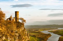 Kimmoull castle in Perthshire, Scotland. A view to Kimmoull castle and a valley of the river Tay in Perthshire, Scotland Stock Image