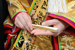 Kimono accessories. Kimono marriage, firmly in their hands and convinced the sense is shining confidence, think of to groom friendly and elegant Stock Photos