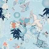 Kimono background with crane and flowers. Vector illustration
