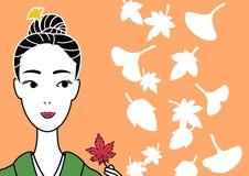 Kimono beauty picking a red leaf. A kimono beauty picking a red leaf up royalty free illustration