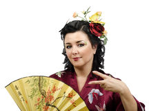 Kimono caucasian woman doing cool hand gesture Royalty Free Stock Image