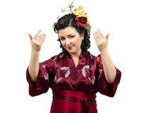 Kimono caucasian woman inviting you Stock Photography