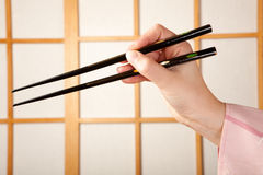 Kimono and chopsticks Royalty Free Stock Images