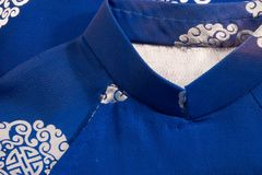 Kimono Collar. Close up with detail of kimono collar and hand stitching; detail of an older less industrial craft Stock Photos