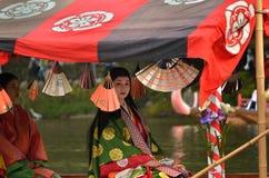 Kimono costumed heroine goes boating, Kyoto Japan. Royalty Free Stock Photo