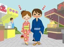 Kimono couple in Japanese  summer festival Stock Photo