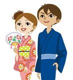Kimono couple, Looking up Stock Photos
