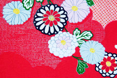 Kimono design. Close up of the floral design on a Japanese kimono Stock Photos