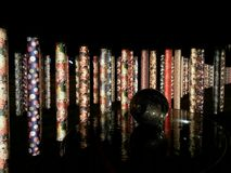 Kimono Forest at Arashiyama Railway Station, Kyoto, Japan. Illuminated beautiful textile patterns displayed Stock Image