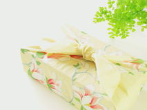 Kimono gift. Gift with japanese beautiful cloth furoshiki Royalty Free Stock Images