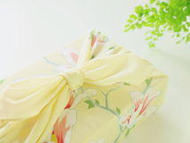 Kimono gift. Gift with japanese beautiful cloth furoshiki Stock Image