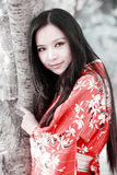 Kimono girl. Beautiful Asian girl in traditional kimono posing under cherry tree Royalty Free Stock Image
