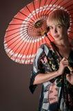 Kimono Girl With Parasol Portrait Royalty Free Stock Photos