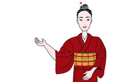 Kimono girl showing Stock Images
