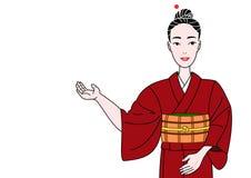 Kimono girl showing. A beautiful kimono girl showing royalty free illustration
