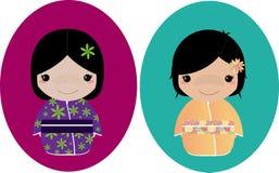 Kimono Girls 2. Two little girls dressed in lovely kimonos Royalty Free Stock Images