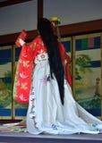 Kimono het kleden zich pop in het paleis Gosho, Kyoto Japan Royalty-vrije Stock Foto's