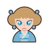 kimono japonais traditionnel de bleu de fille de bande dessinée illustration libre de droits